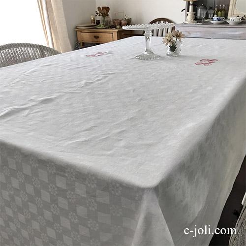 T2954 フランスアンティークリネン大判テーブルクロスSA 手刺繍モノグラム&ダマスク織上質リネンクロス 296x175cm