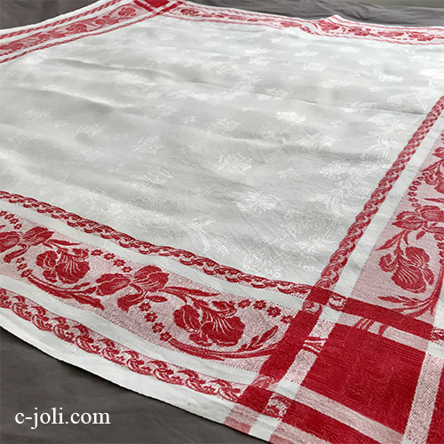 【パリ発送】T2965 フランスアンティークコットン大判テーブルクロス ダマスク織&赤縞コットンクロス 130x128cm