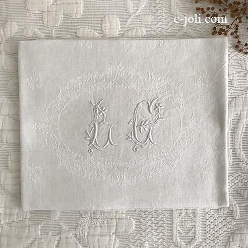 【パリ発送】T2975 フランスアンティークリネンテーブルナプキン/リネンクロスLG 手刺繍モノグラム&ダマスク織リネン 80x65cm