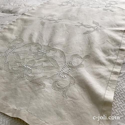 【パリ発送】T2983 フランスアンティーク刺繍リネンテーブルランナー 生成り手刺繍リネンクロス 91cm
