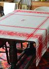 T1962 フランスアンティークリネンテーブルクロス 大判手刺繍モノグラム&ダマスク織リネンクロス 152x152cm
