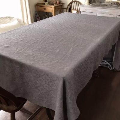 T2747 フランスアンティークリネン大判テーブルクロス ダマスク織リネン パープルグレー 352x145cm