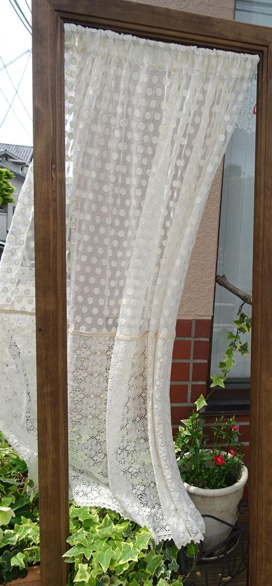 【丈約110cm】ベージュ色★水玉とレースのかわいいコラボ ドット『カフェカーテン』 綿刺繍でナチュラル ちょっと目隠し とってもロング