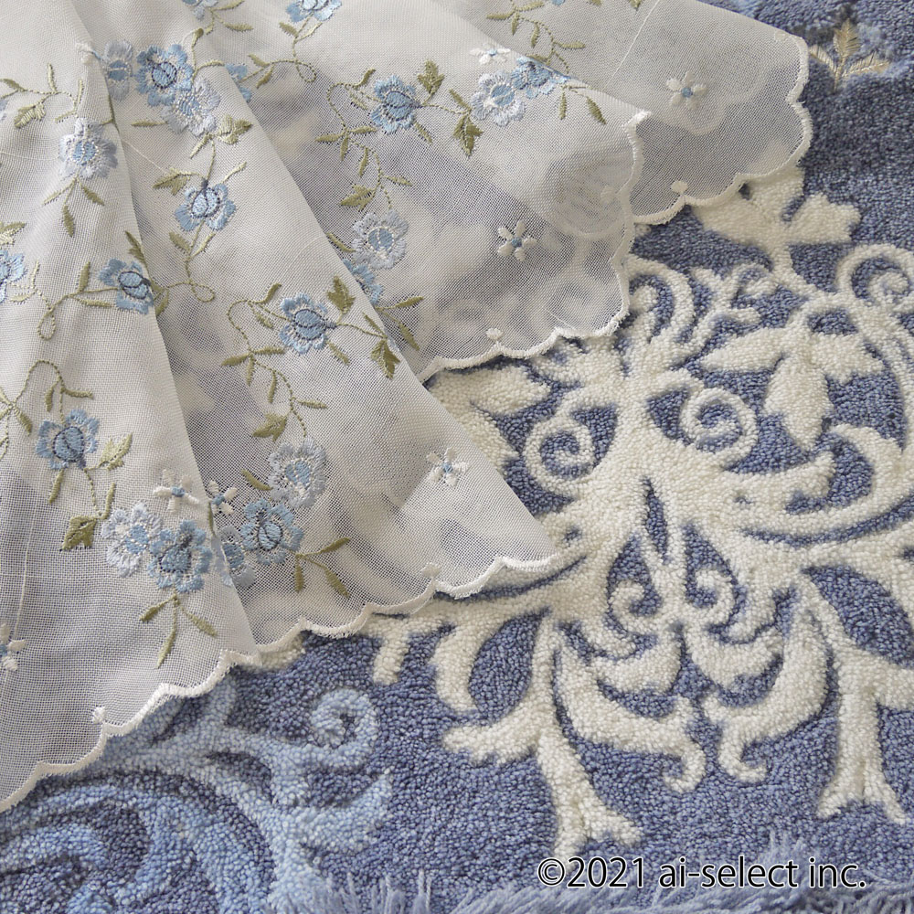 花言葉 夢が叶う。ブルーローズ『カフェカーテン』【縦45cm】ショート 半透明のオフホワイトの生地に薄色ブルーローズの刺繍 濃すぎない優しいブルー