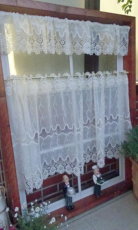 【丈18cm 標準幅】 おしゃれ!トルコ製『カフェカーテン』パオン*アールヌーボー調の珍しいデザイン*ベリーショート