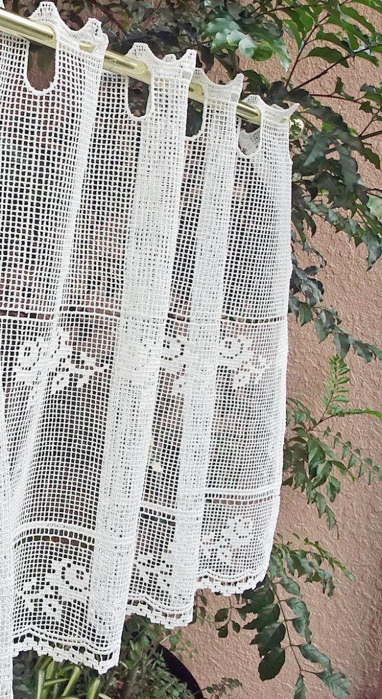 【細幅】窓から風を通せる フィレ&タスカニーレース『カフェカーテン』【縦45cm】小窓用 ショート
