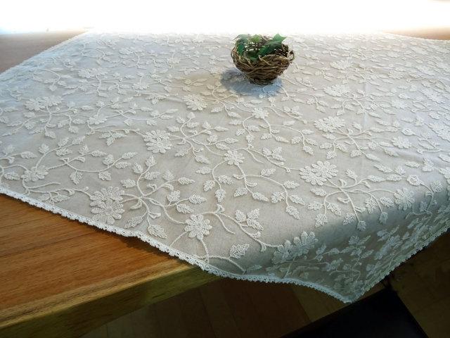 人気のカフェカーテンが『トップ テーブルクロス』 になりました! 綿刺繍 ナチュラル