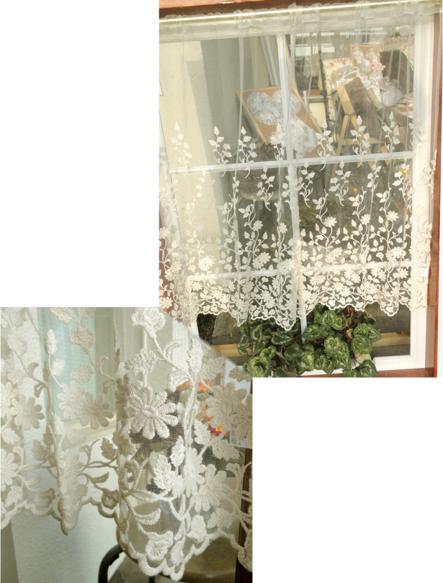 【縦90cm】【ロング】アイボリーチュールにコットンのお花刺繍 の珍しいカフェカーテン 北欧風