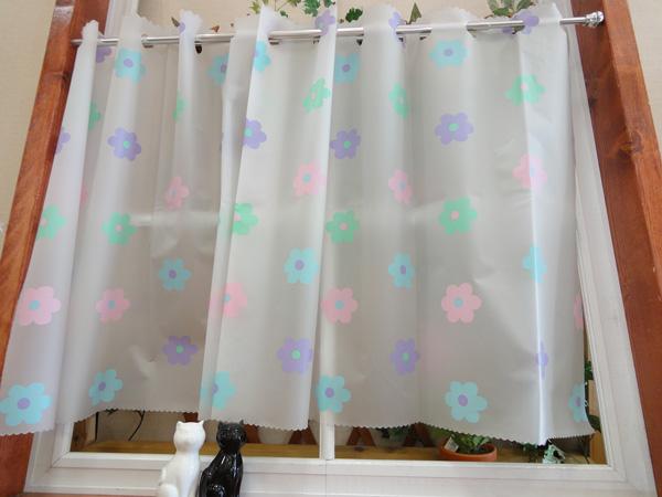 【縦60cm】フルネス 遮像カフェカーテン /防カビ加工 浴室や洗面所など水廻りに最適/【フラワー】