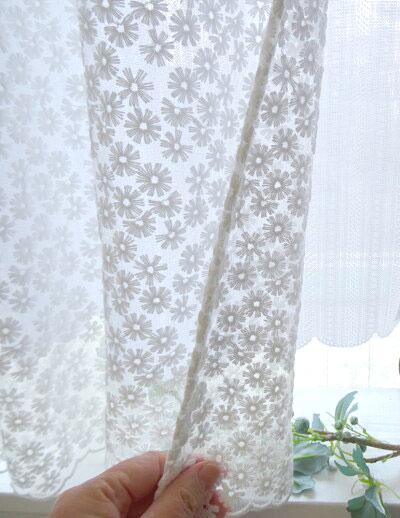 2重の生地使いが、新しい 絶対かわいい!自信の1枚です。遮熱出来る★2重『カフェカーテン』セミロング 縦約 60cm小窓用