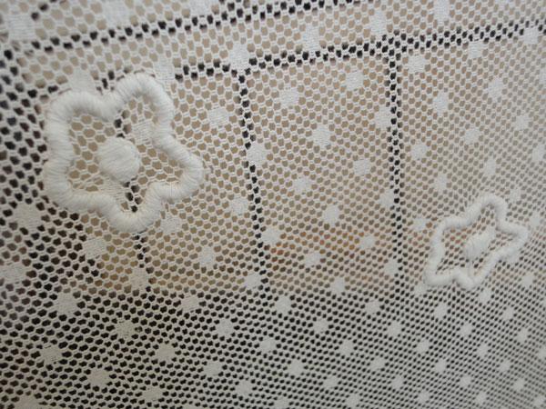 【縦50cm】フランス ブランド 『Coquecigrues コクシグル』限定入荷 ドット水玉レース バラのコサージュ カフェカーテン