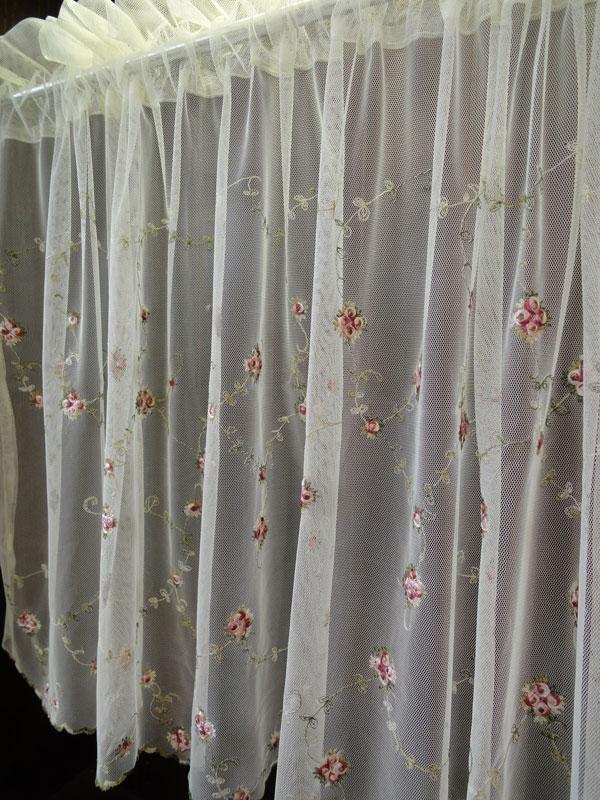 【縦90cm】チュールに繊細な刺繍ピンクの小花&グリーン サイズバリエーションが6サイズ!90