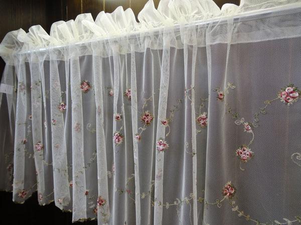 【縦45cm】チュールに繊細な刺繍ピンクの小花&グリーン サイズバリエーションが6サイズ!45