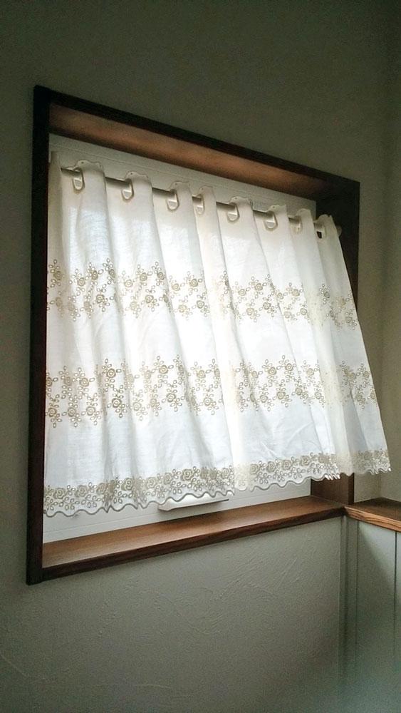 【260x縦45cm】広幅サイズ『カフェカーテン』エンブ*アイボリー生地にコットン刺繍 ショート 縫製日本