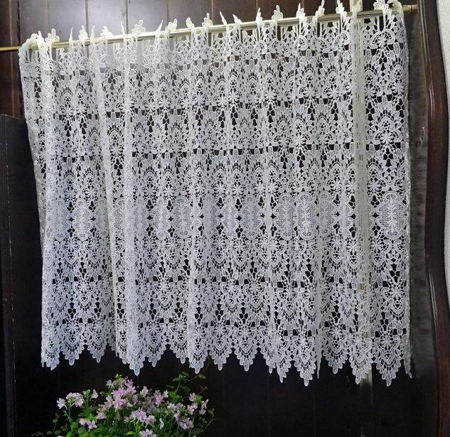 【幅約120cmX丈約60cm】 真っ白『カフェカーテン』ヨーロッパの窓を思わす ギュピールレース 綺麗です ホワイト セミロング