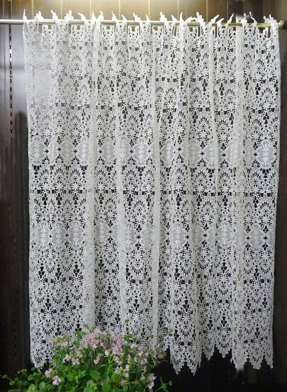 【幅約120cmX丈約90cm】 真っ白『カフェカーテン』ヨーロッパの窓を思わす ギュピールレース 綺麗です ホワイト ロング