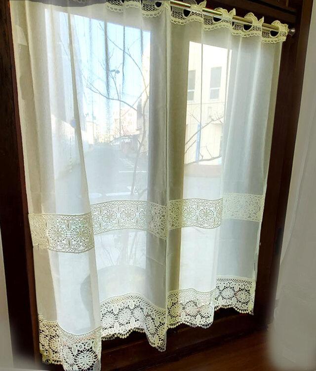 細窓にお勧めカフェカーテン レースが綺麗【約 100x90cm】 オフホワイトで お部屋に馴染みます 細窓 ロング 小窓用