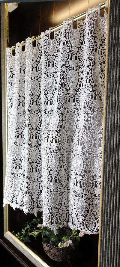 細窓 小窓用【縦60cm】クラシカルで美しい 高級感漂うギュピールレースカフェカーテン セミロング