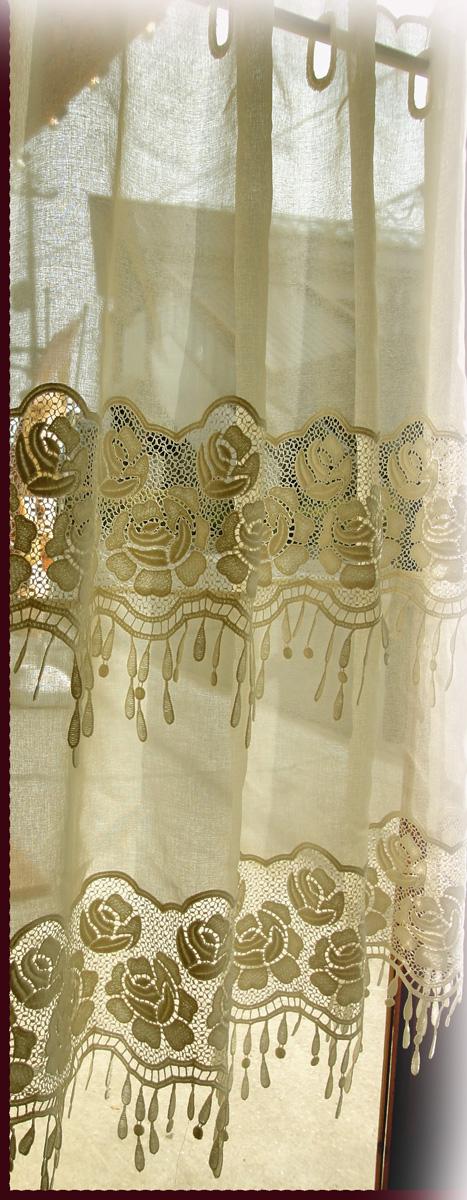 【縦80cm】縦長窓用 当店オリジナル フランス製バラ『カフェカーテン』アイボリー ローズリッチ