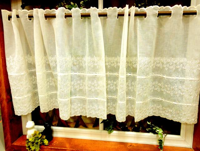 【縦45cm】アイボリー麻風生地にサテンのリボン『カフェカーテン』半透明 ショート