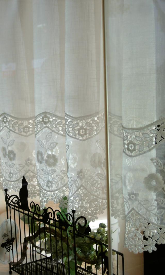 【縦45cm】裾の切り替えが絶対可愛い♪『カフェカーテン』ホワイト