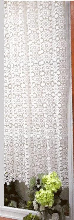 【縦約130cm】細窓サイズ ちょっぴりレトロ感 ギュピールのお花がいっぱい北欧 『カフェカーテン』細窓ロング