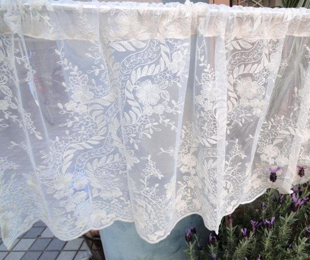 【縦45cm】コットン刺繍 大人色『カフェカーテン』 アイボリー 北欧 ベリーショート