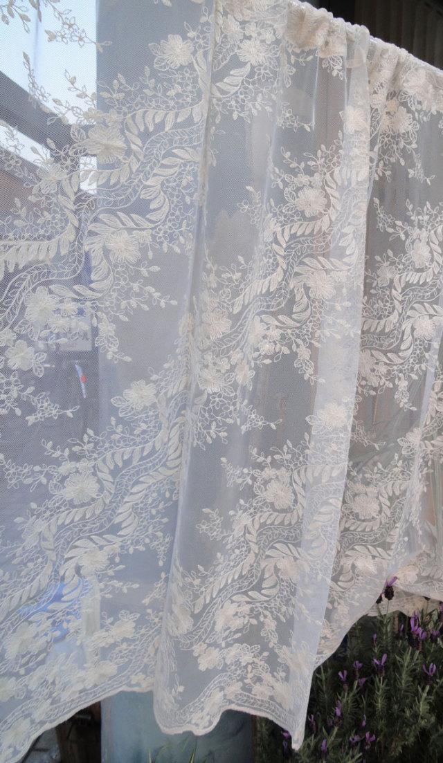 【縦90cm】コットン刺繍 大人色『カフェカーテン』 アイボリー 北欧 ロング【送料無料】