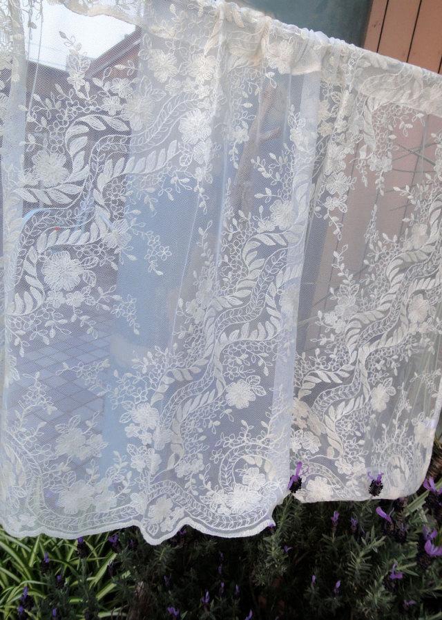 【縦60cm】コットン刺繍 大人色『カフェカーテン』 アイボリー 北欧 セミロング