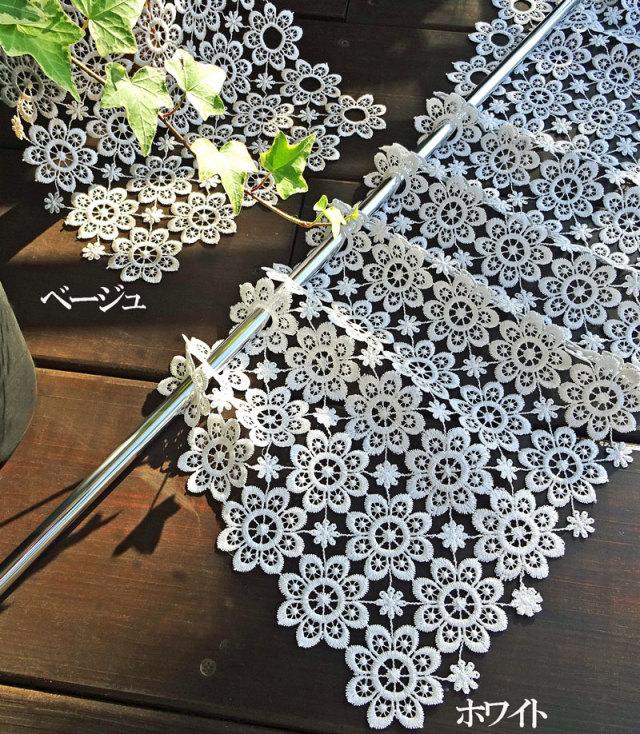 【縦約25cm】ちょっぴりレトロ感 ギュピールのお花がいっぱい北欧 『カフェカーテン』ベリーショート