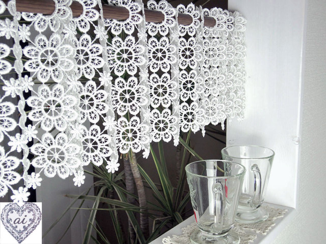 【縦約20cm】ちょっぴりレトロ感 ギュピールのお花がいっぱい北欧 『カフェカーテン』ベリーショート