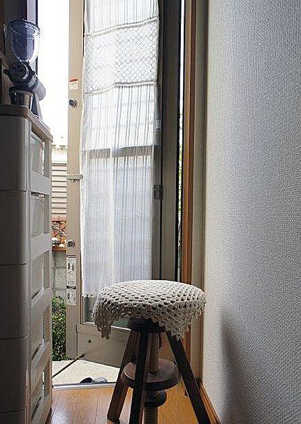 『パネルカーテン』細窓・勝手口のカーテン*2枚3枚とつなげは間仕切りのれんに*オフホワイト