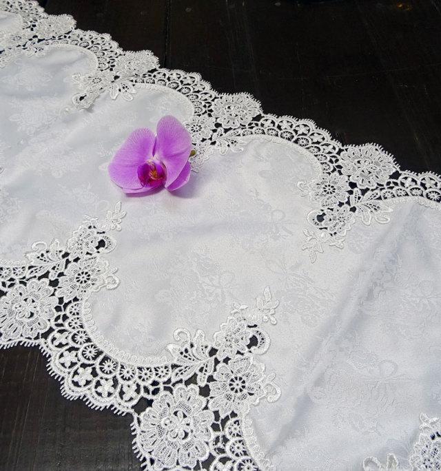 ギュピールレース【35x98cm】『Mテーブルセンター』真っ白で光沢のある薔薇の地模様が、お洒落♪