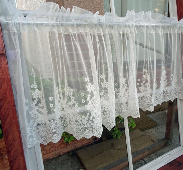 【約150×約45cm丈】ノスタルジックチュール*アラベスク刺繍『カフェカーテン』ショート