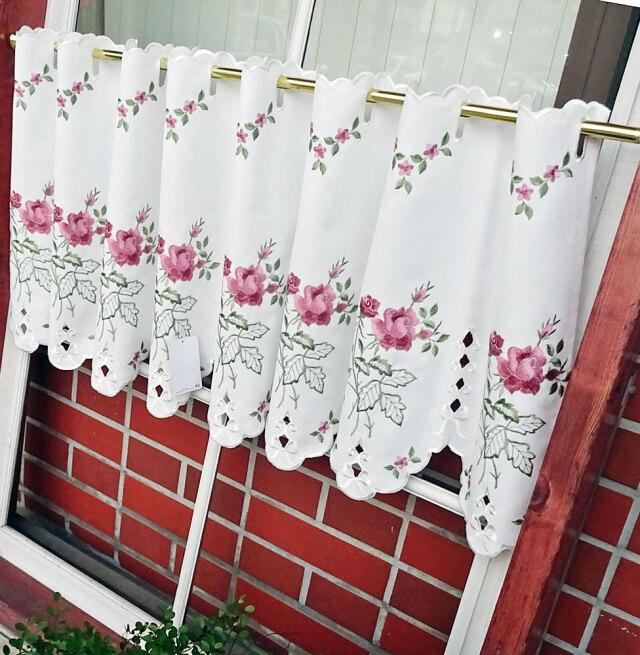 目隠し スカラップ『カフェカーテン』 otona薔薇刺繍 ローズ模様 綺麗 おしゃれ 棚隠し縦約45cm 小窓にショートサイズ