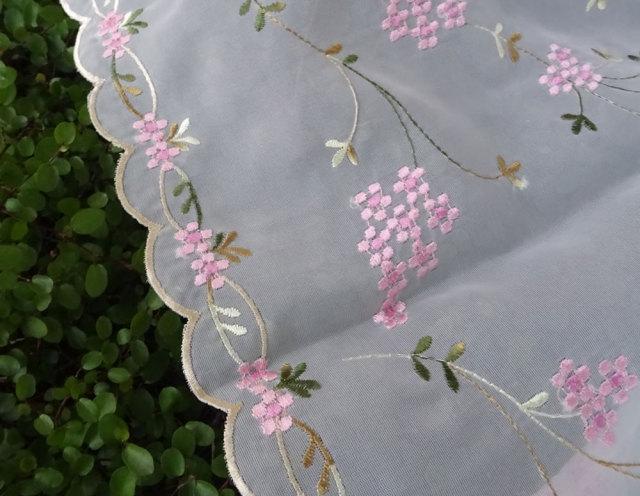 NEW ボイルレース ピンクハーブ刺繍『カフェカーテン』creep  おしゃれ 透け感がかわいい 縦約45cm 小窓にショートサイズ