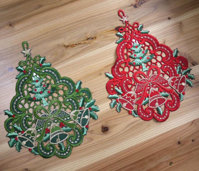 リースや ティマット 窓の飾りにも『ツリーなドイリー』クリスマスプレゼント交換や ビジュを付けてクリスマスツリーやパッチワーク等の手芸にも