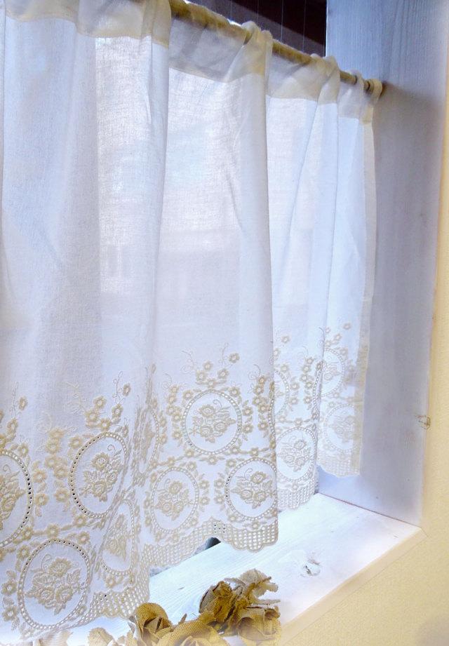 【幅120×丈60cm】『カフェカーテン』少し目隠し*ローズクォーツカフェカーテン*小窓用*コットン シンプルナチュラル