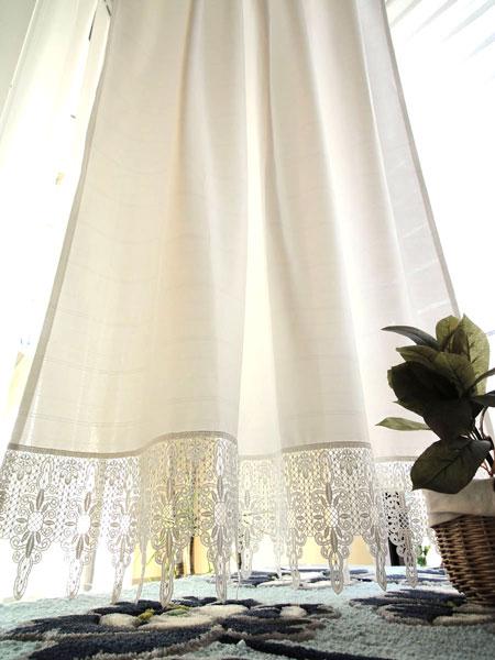 勝手口にオススメ【縦160cm】『カフェカーテン』 真っ白 ギュピールレース付き 生地部分遮熱・遮像・防炎 UVカット 見えにくい