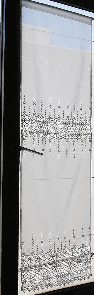 トルコ製オーダー生地使用 『パネルカーテン』ギュピュールレースが綺麗 オフホワイト ロング 細窓 縦長 2枚 3枚とつなげば、間仕切りのれん 暖簾 お花 ワンランク上の 西日がまぶしい勝手口に カフェカーテン