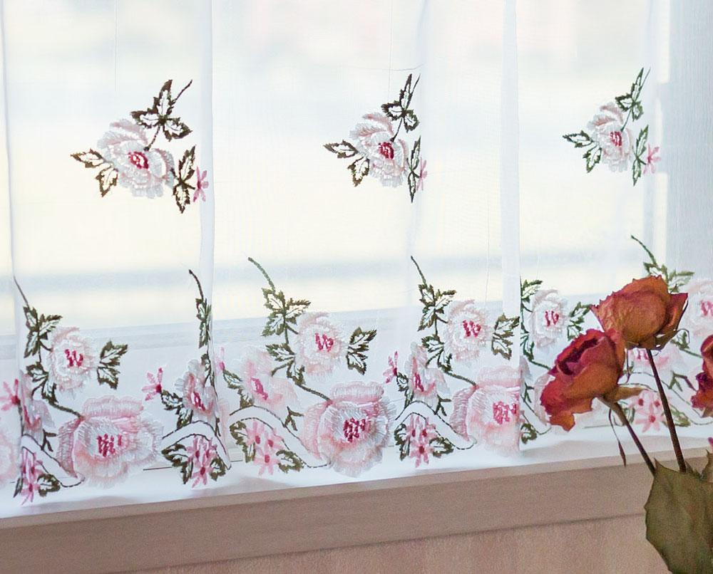【丈45cm】2018年ラッキ-カラーピンクの『カフェカーテン』濃淡刺繍が優しい 半透明のボイル生地