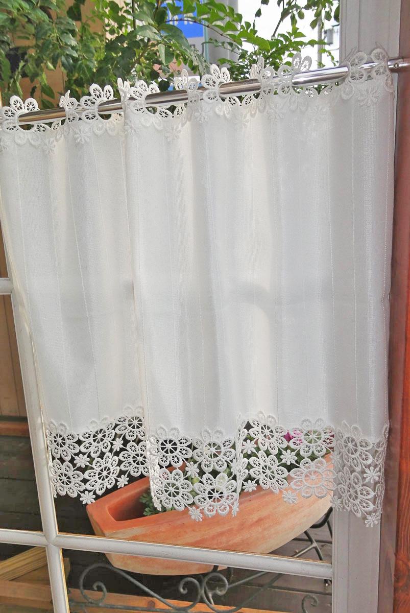 【縦45】お花レースがついた可愛い『遮熱カフェカーテン』冷暖房効率を高める・生地部分防炎・外から見えにくい・白の縦縞ストライプ・ショート