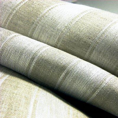 リネンミー LinenMe リネン生地 サテン織り ナチュラルストライプ(布幅 150cm) リネン100% リトアニア製