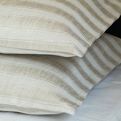 リネンミー LinenMe リネン枕カバー サテン織りナチュラルストライプ 【63X43cm】リトアニア製