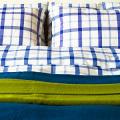 送料無料♪ リネンミー LinenMe リネン掛け布団カバー ブルースクエア 【ダブル 190X210cm】リトアニア製