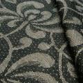 リネンミー LinenMe リネン生地 ダマスク織り クリセントマムズ ブラック(布幅 150cm)