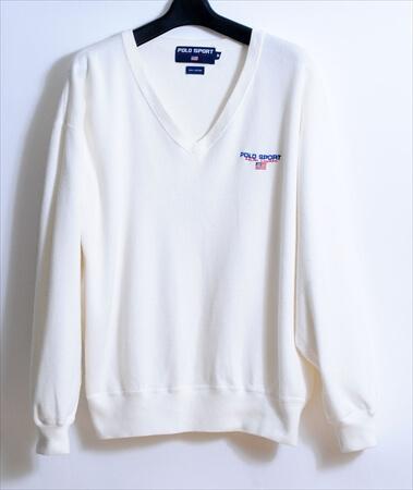 90年代 POLO SPORT ポロスポーツ スウェットシャツ sizeM ホワイト ラルフローレン Ralph Lauren 90's