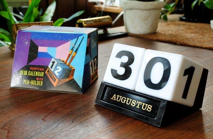 ベルギー買い付け 1960-70年代 デッドストック デスクカレンダー 万年カレンダー