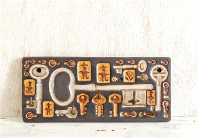 1960年代 デンマーク製 BERG Keramik 陶器の鍵フック 壁掛けフック ウォールフック ヴィンテージ アンティーク 北欧雑貨