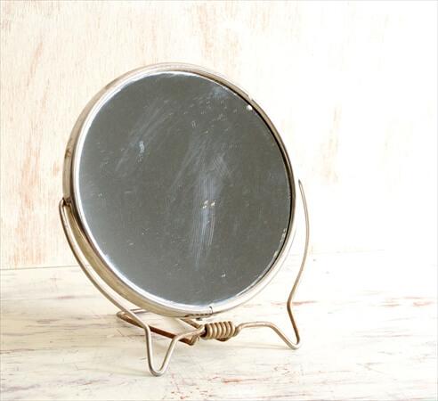 デンマークのブロカントから テーブルスタンドミラー 等倍x拡大鏡 ラウンド 卓上鏡 ヴィンテージ アンティーク
